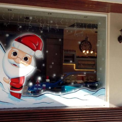 Santa χριστουγεννιάτικη βιτρίνα